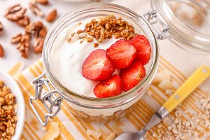 Glass jar of oat granola