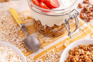 Jar of homemade granola