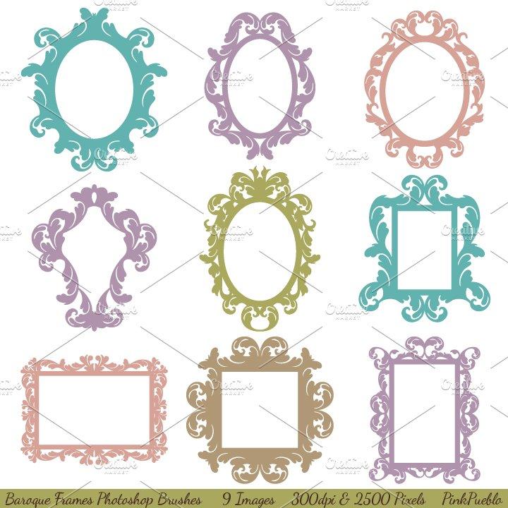 Baroque Frames Photoshop Brushes ~ Brushes ~ Creative Market