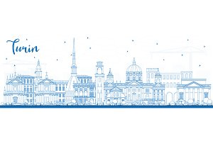 Outline Turin Italy City Skyline