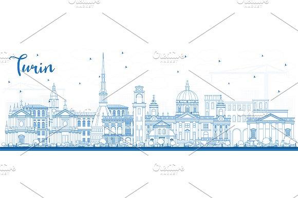 Outline Turin Italy City Skyline