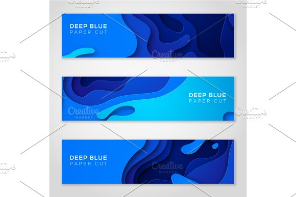 Horizontal Banners With Abstract Blu