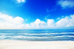 Summer beach, sea scenery