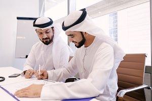 Arabian businessmen meeting in Dubai