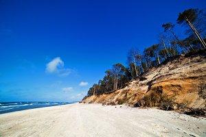 Cliffs on a sunny beach