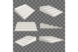 Template Blank White Stairs Ladder