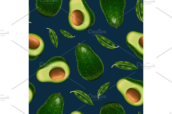 3D Whole Avocado And Slice Pattern