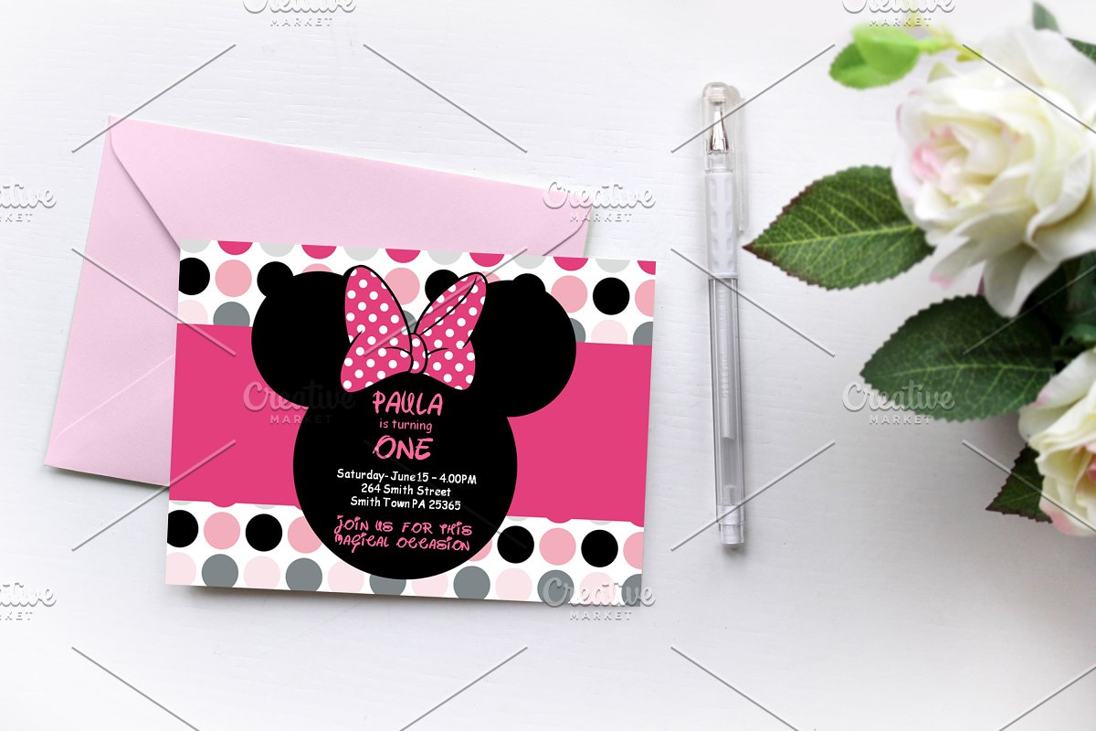 Minnie Mouse Invitations Invitation Templates Creative Market