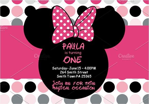 Minnie Mouse Invitations Invitation Templates Creative Market