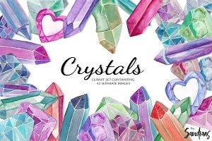 Crystals clip art set