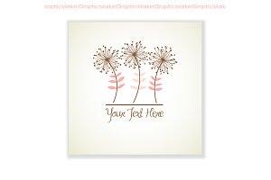Floral logo, Hand drawn card, flower