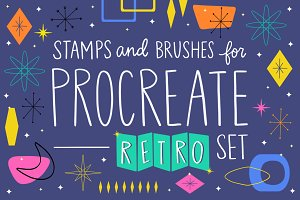 Procreate Stamp Retro Set