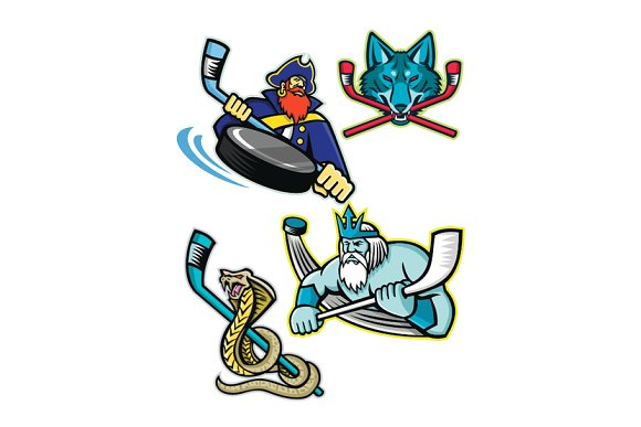 Ice Hockey Sports Mascot Collection in Illustrations