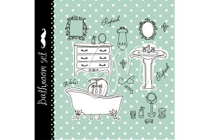 Vintage Bath Clip art, spa, bathroom