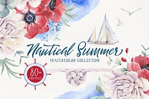 NAUTICAL SUMMER Watercolor set