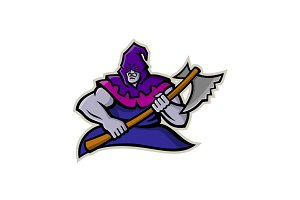 Hooded Medieval Executioner Mascot