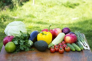 Set of raw vegetables and fruits