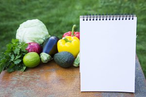 Healthy food concept. Notebook