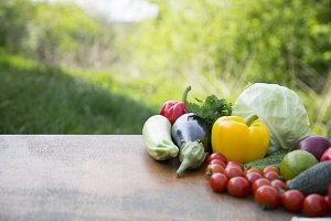 Set of organic vegetables and fruits