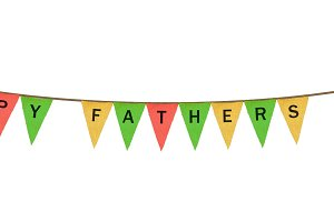 Individual cloth pennants or flags with Happy Fathers Day