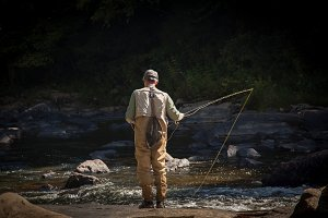 Fisherman fly fishing in Maryland