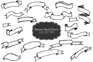 Set of Banners Hand Drawn Vector