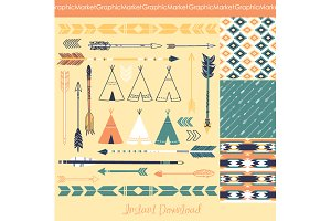 Arrows, Teepee Tents, tribal papers