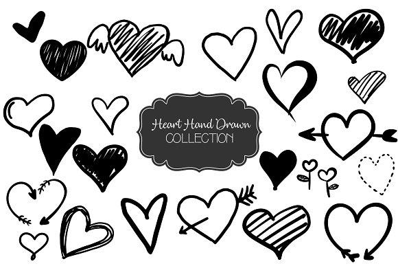 Set Of Hearts Hand Drawn Vector
