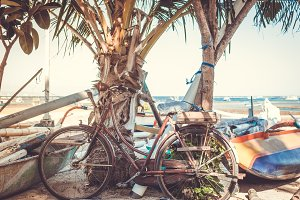 Vintage Retro Bicycle on the beach.