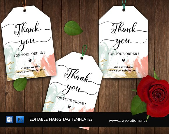 thank you hang tag id01 stationery templates creative market