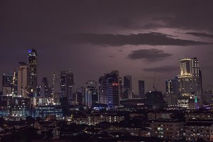 Severe Thunderstorm with lightning over the Residential area at Putrajaya, Kuala Lumpur