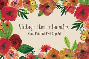 Watercolor Flower Clipart Bundles
