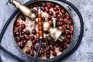 Stylish oriental shisha with cherrie