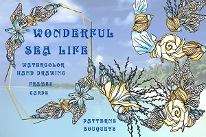 Sea life. Watercolor&graphics Set.