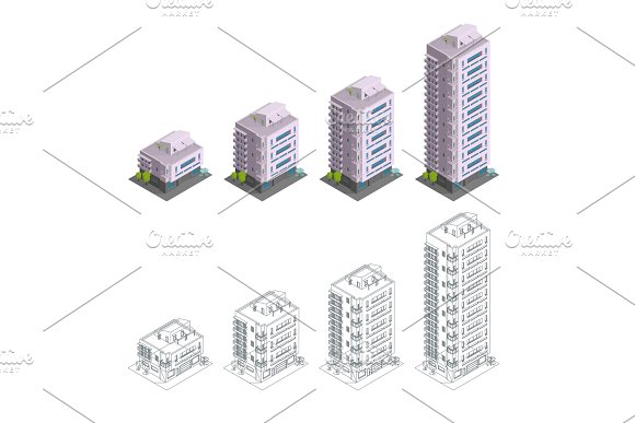 Building Phases Of Construction Modern Town House Multiple Floors City Residence Architecture Different Quantity Of Floors Contours Drawing Isometry Vector Illustration