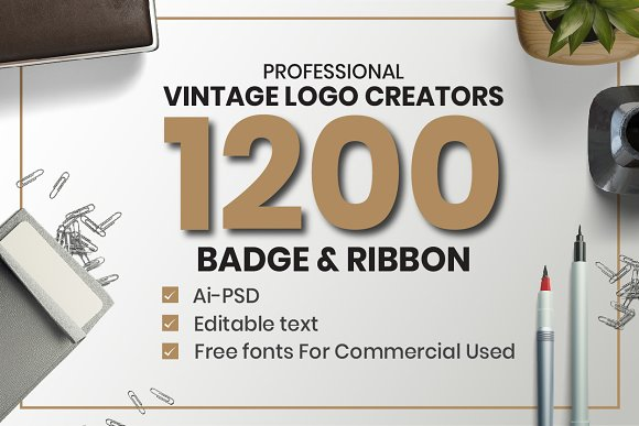 1200 Vintage Badge Objects