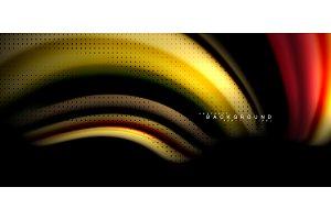 Multicolored wave lines on black background design