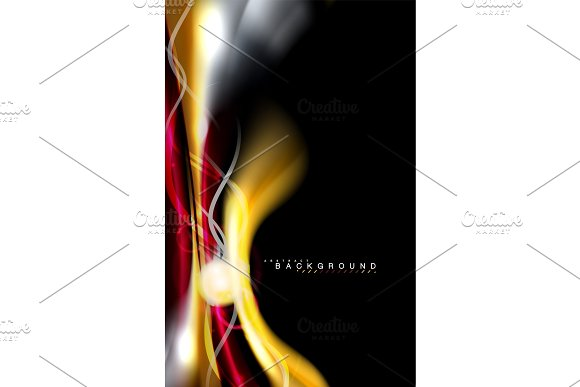 Color Shiny Light Effects On Black Liquid Style Multicolored Wavy Shape