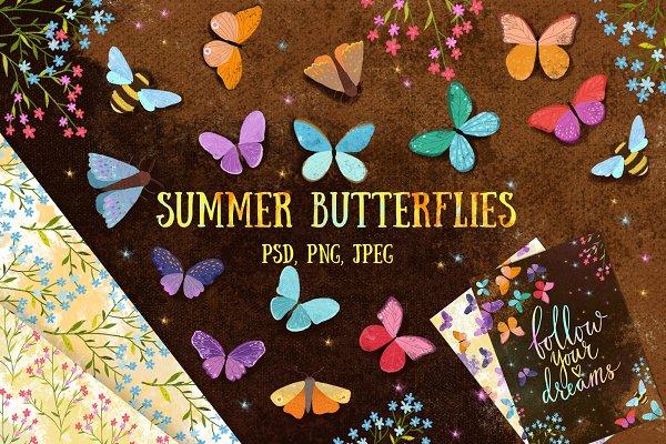 Summer butterflies clip art