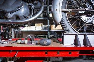 motorbike on a work platform