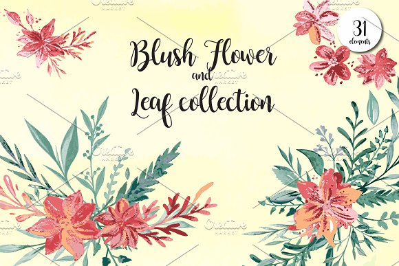 Blush Flowers And Leaf Collection