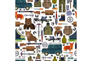 Hunt vector hunting ammunition or hunters equipment rifle shooting and backpack in camping with animals duck bear, boar and huntingdog set illustration seamless pattern background