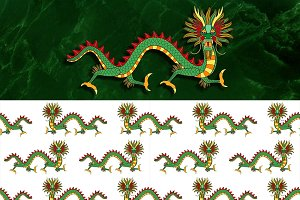 Dragon + Seamless Pattern