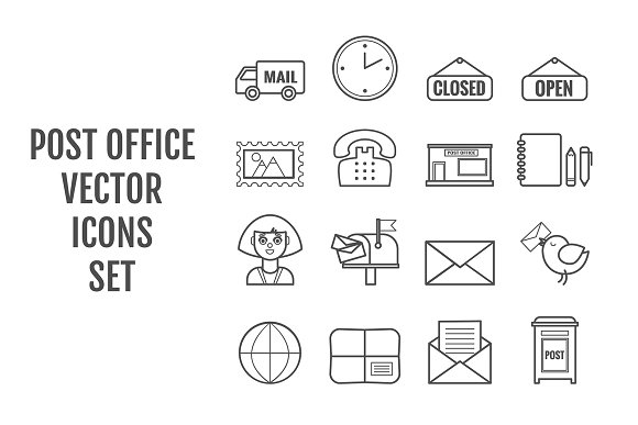 16 Vector Line Post Office Icons