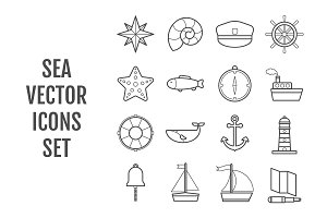 Set of 16 vector line sea icons