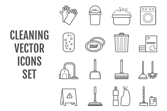 16 Vector Line Cleaning Icons