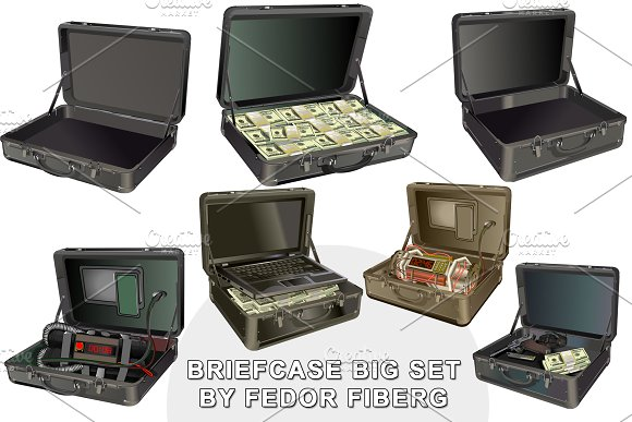 Briefcase Isolated Big Vector Set