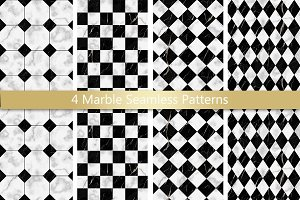 Marble Check Seamless Pattern Set
