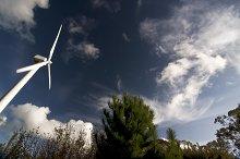 wind turbine with blue sky and cloud