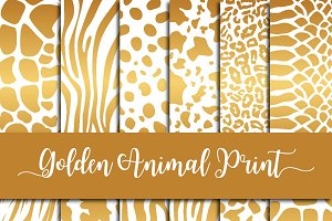 Golden Animal Print Digital Paper